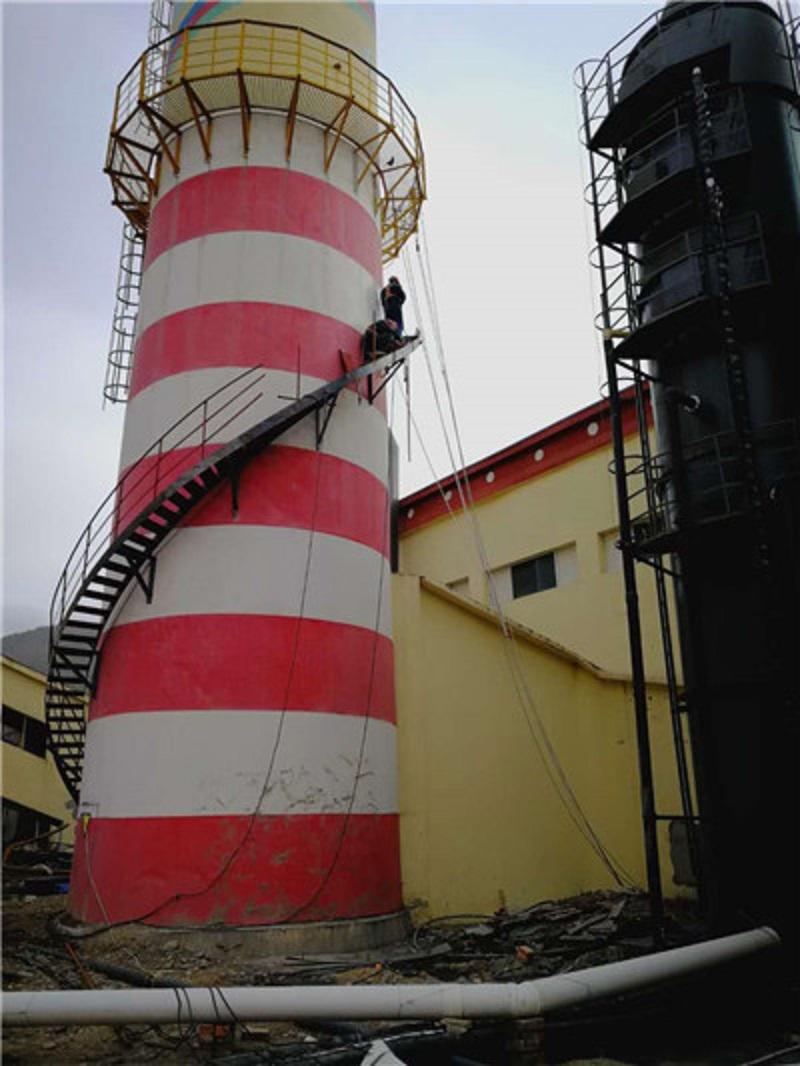 泰州靖江烟囱安装爬梯护网公司——技术雄厚