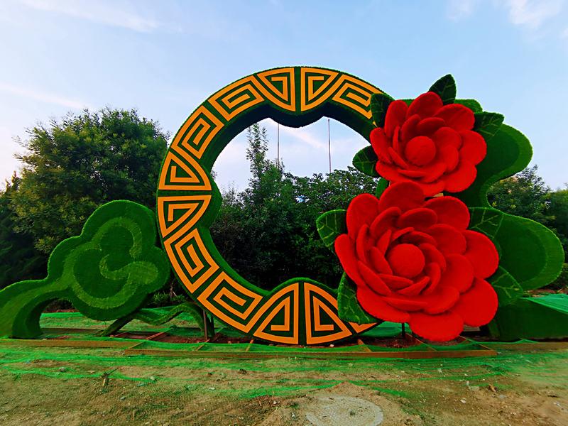 綠雕-節慶綠雕-承德精神堡壘雕塑設計-【軒軒綠雕】