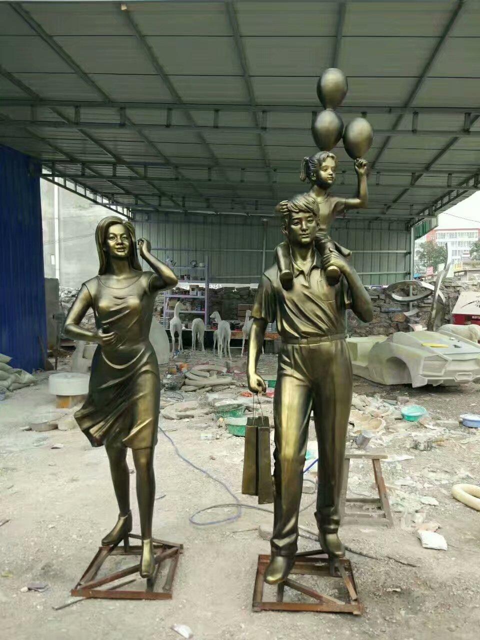 静态一家三口雕塑厂家[源头工厂]仿铜一家三口雕塑厂家-山西天启雕塑