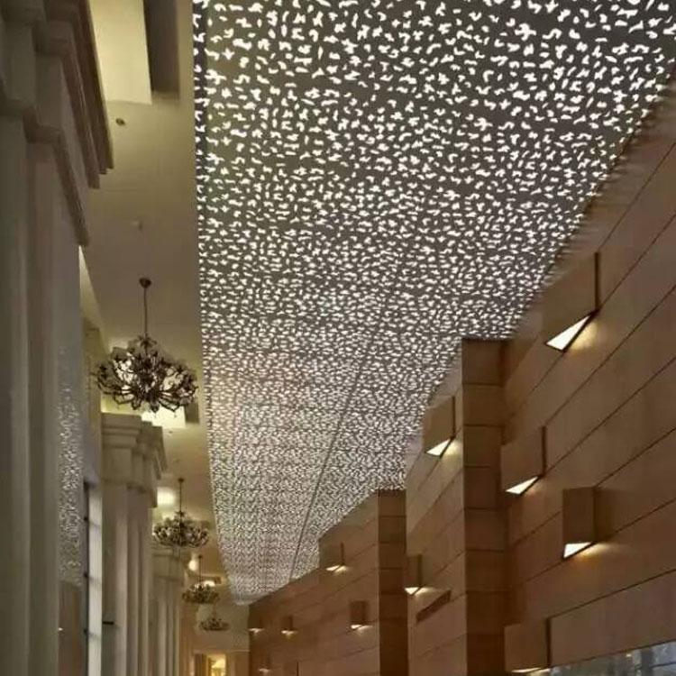 中堂商场外墙波浪铝天花吊顶效果图