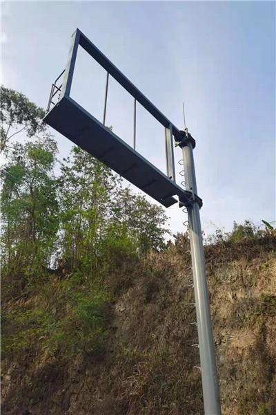 阿里地区河流水温监测立杆,信号八棱八角立杆_高清图