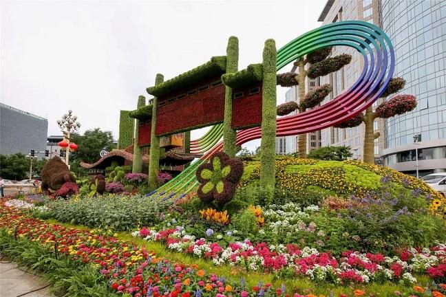 虎年绿雕 春节绿雕 梅州虎年五色草造型公司(原创设计)