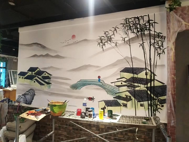 大理彩绘文化墙手绘壁画墙绘施工